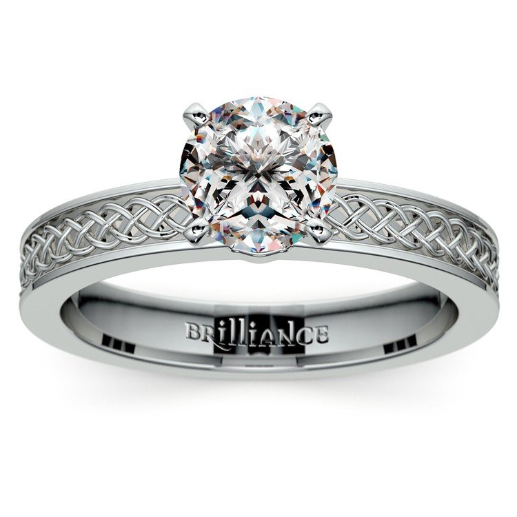 Celtic Knot Solitaire Engagement Ring in Platinum | 01