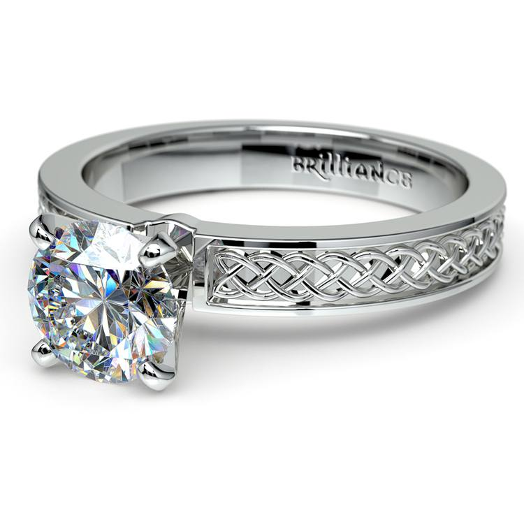 Celtic Knot Solitaire Engagement Ring in Platinum | 04