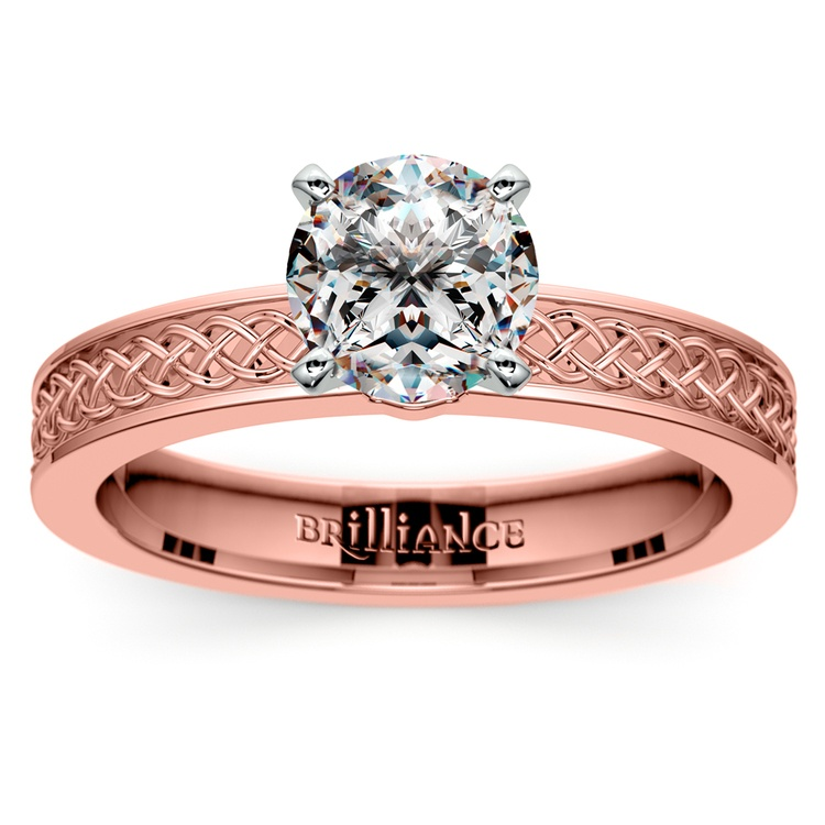 Celtic Knot Solitaire Engagement Ring in Rose Gold | 01