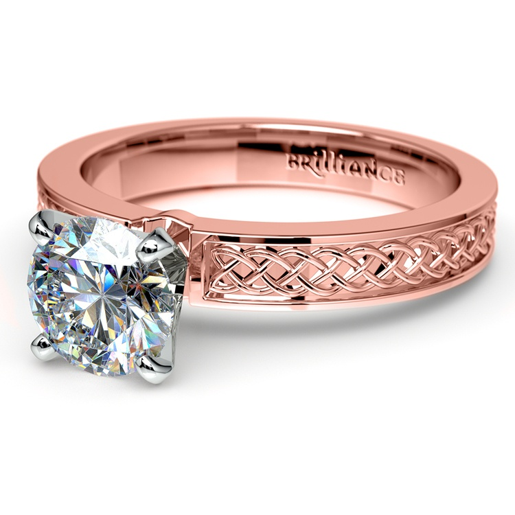 Celtic Knot Solitaire Engagement Ring in Rose Gold | 04
