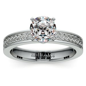 Celtic Knot Solitaire Engagement Ring in White Gold