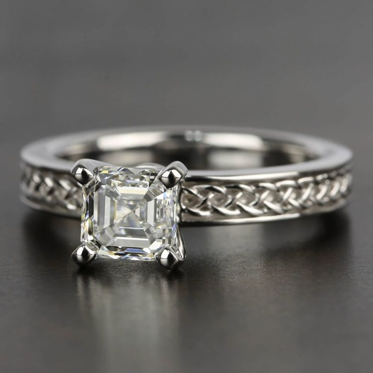 Celtic Knot Solitaire Engagement Ring in White Gold | 05