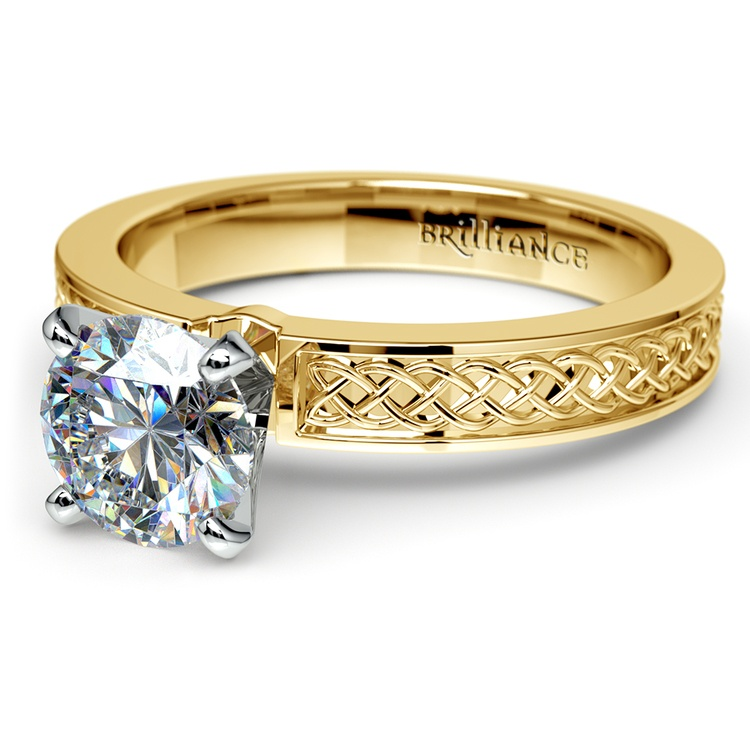 Celtic Knot Solitaire Engagement Ring in Yellow Gold | 04