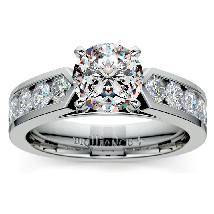 Channel Diamond Engagement Ring in White Gold (1 ctw) | 01