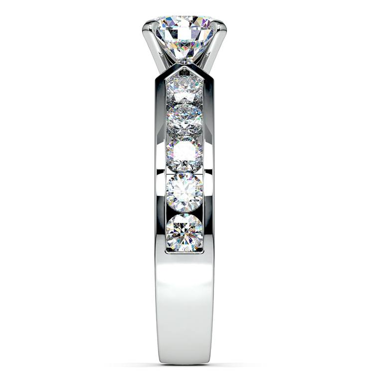 Channel Diamond Engagement Ring in White Gold (1 ctw) | 03