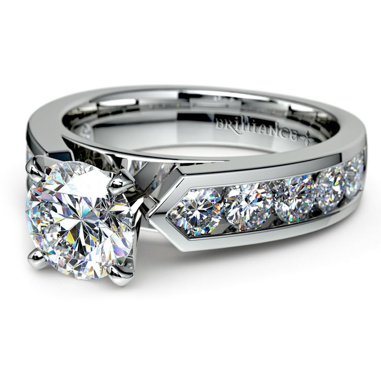 Channel Diamond Engagement Ring in White Gold (1 ctw)   04