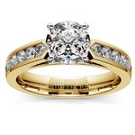 Cathedral Diamond Engagement Ring with Channel Setting in Yellow Gold | Thumbnail 01