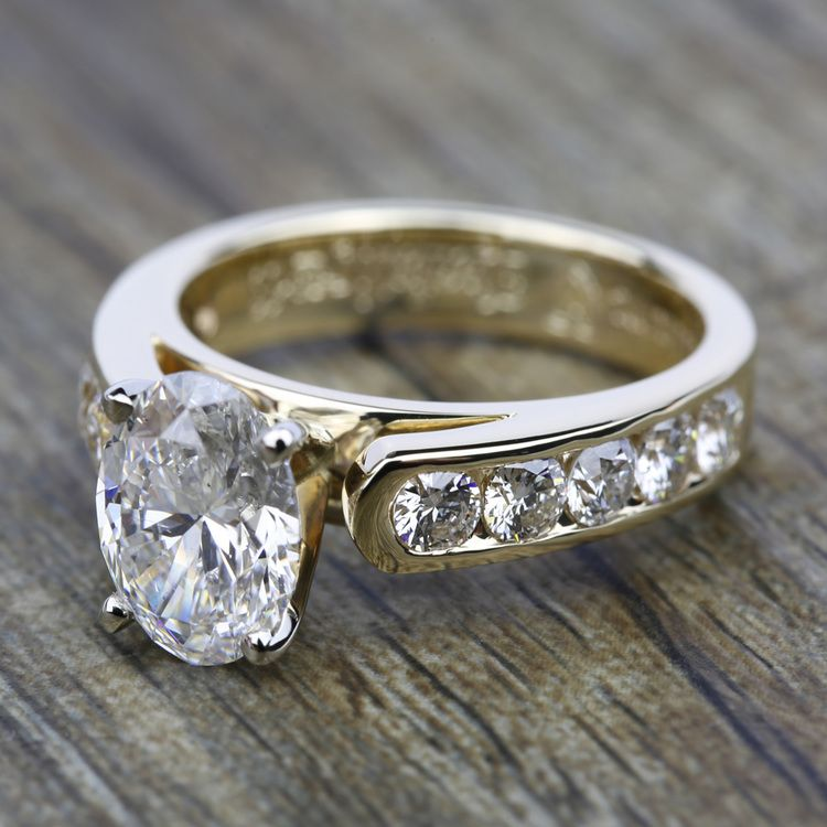 Cathedral Diamond Engagement Ring with Channel Setting in Yellow Gold | 05