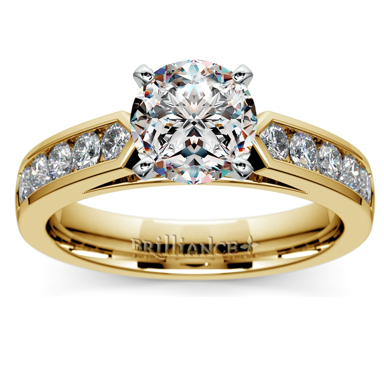 Cathedral Diamond Engagement Ring with Channel Setting in Yellow Gold | 01