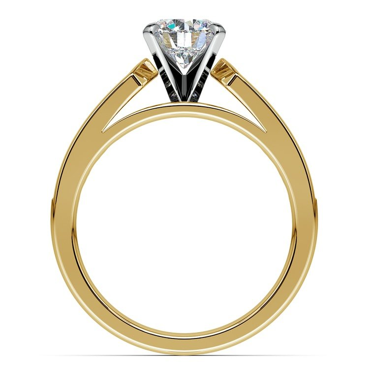 Cathedral Diamond Engagement Ring with Channel Setting in Yellow Gold | 02