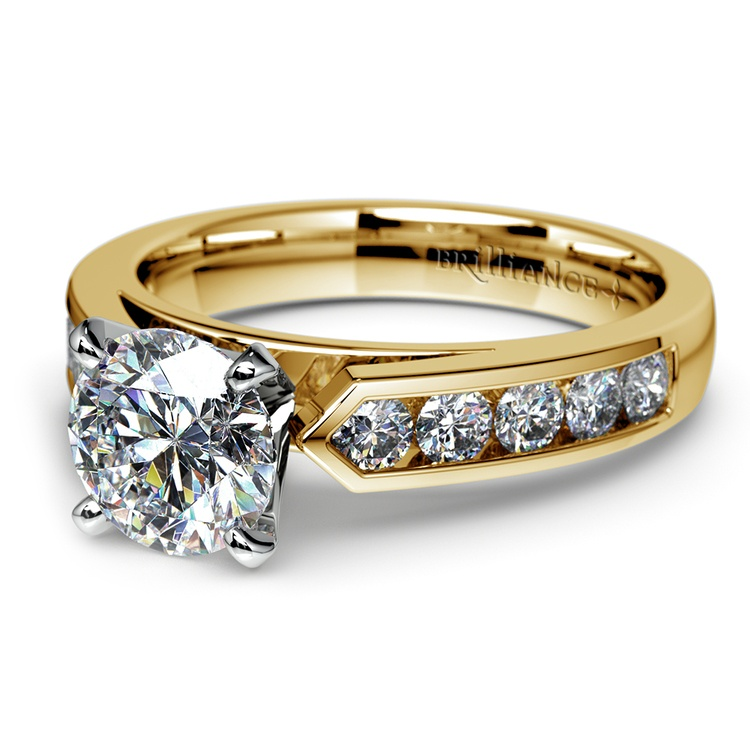Cathedral Diamond Engagement Ring with Channel Setting in Yellow Gold | 04