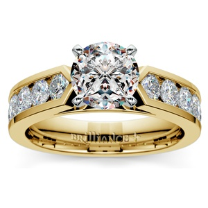 Channel Diamond Engagement Ring in Yellow Gold (1 ctw)