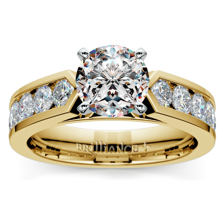 Channel Diamond Engagement Ring in Yellow Gold (1 ctw) | 01