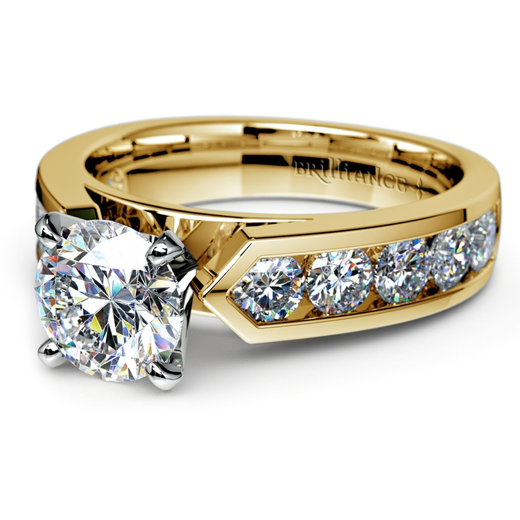 Channel Diamond Engagement Ring in Yellow Gold (1 ctw) | 04