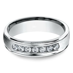 Channel Diamond White Gold Men's Engagement Ring
