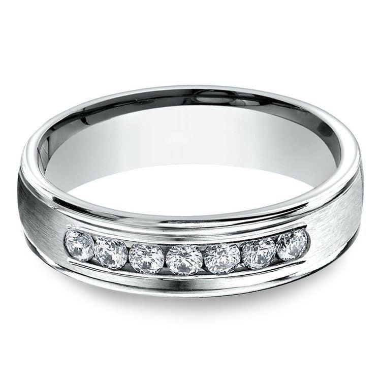 Channel Diamond White Gold Men's Engagement Ring | 01