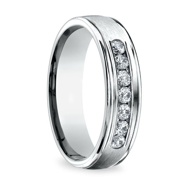 Channel Diamond White Gold Men's Engagement Ring | 02