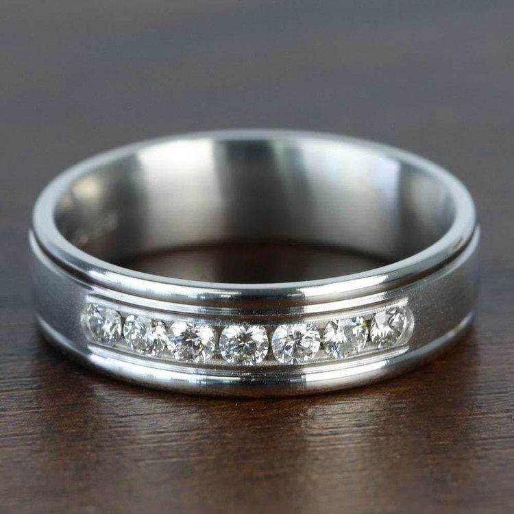 Channel Diamond White Gold Men's Engagement Ring | 04
