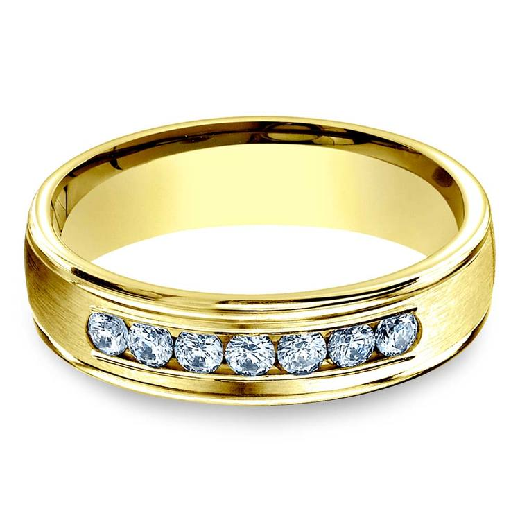 Channel Diamond Men's Engagement Ring In Yellow Gold (6mm) | 01