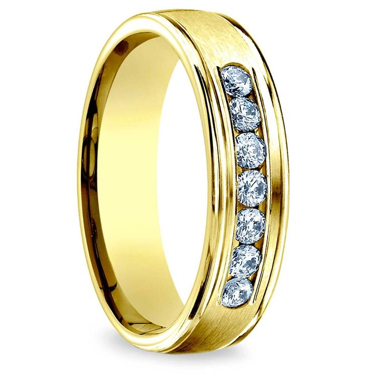 Channel Diamond Men's Engagement Ring In Yellow Gold (6mm) | 02