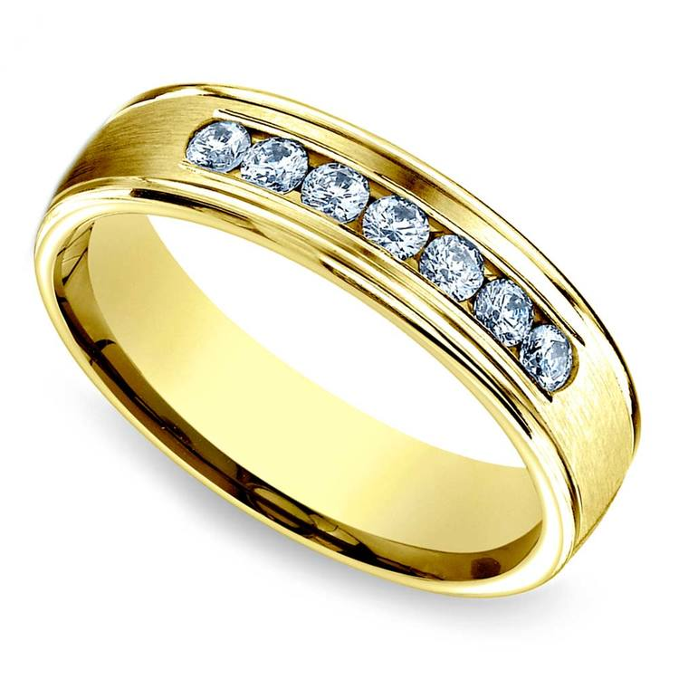 Channel Diamond Men's Engagement Ring In Yellow Gold (6mm) | 03