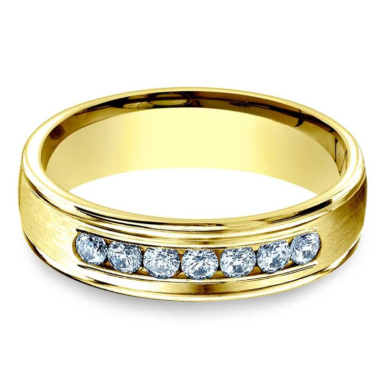 Channel Diamond Men's Engagement Ring In Yellow Gold (6mm) | 04