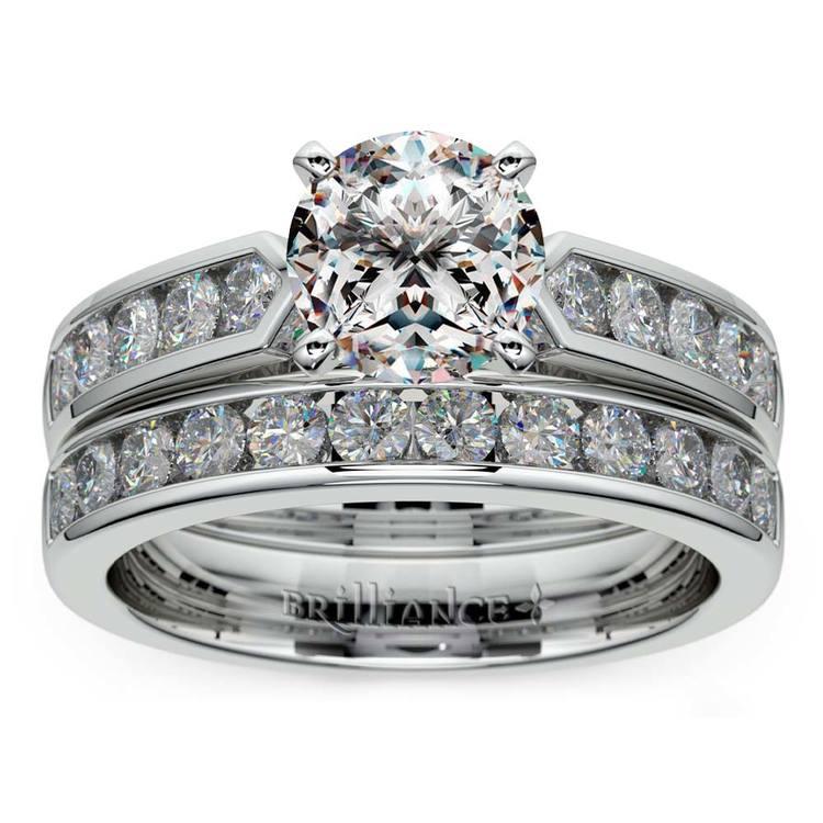 Channel Set Diamond Cathedral Bridal Set in Platinum   01