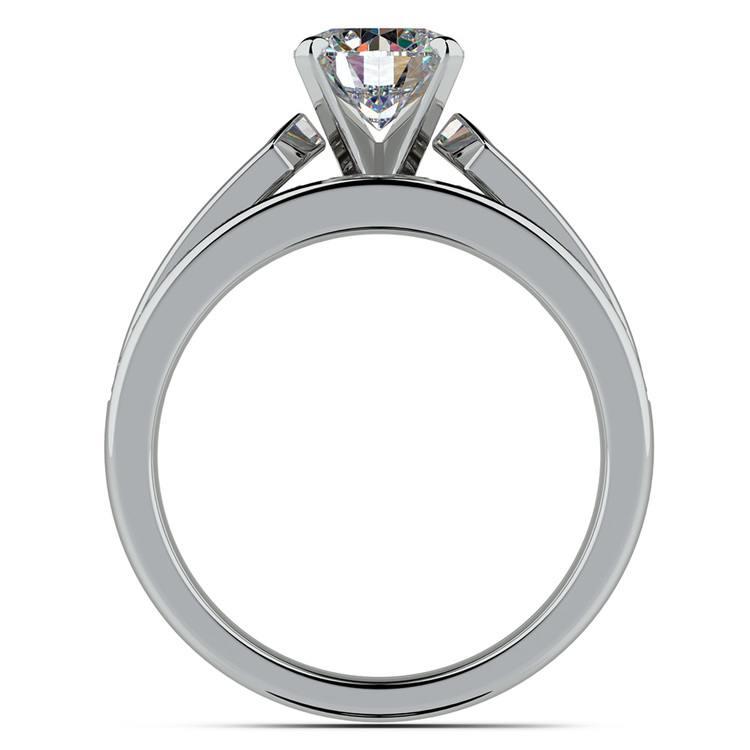 Channel Set Diamond Cathedral Bridal Set in Platinum   02