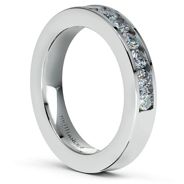 Channel Set Diamond Cathedral Bridal Set in Platinum   05