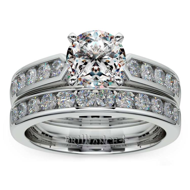 Channel Set Diamond Cathedral Bridal Set in White Gold | 01