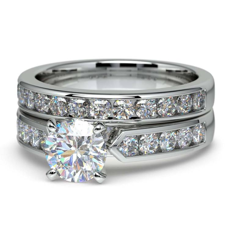 Channel Set Diamond Cathedral Bridal Set in White Gold | 04