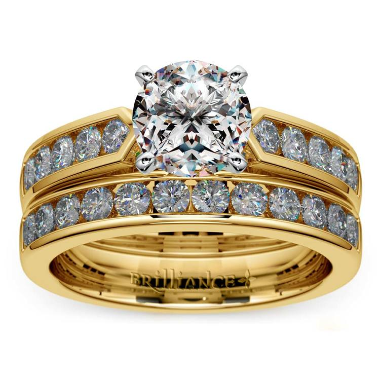 Channel Set Diamond Cathedral Bridal Set in Yellow Gold   01