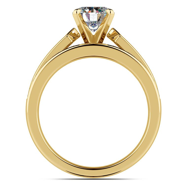 Channel Set Diamond Cathedral Bridal Set in Yellow Gold   02