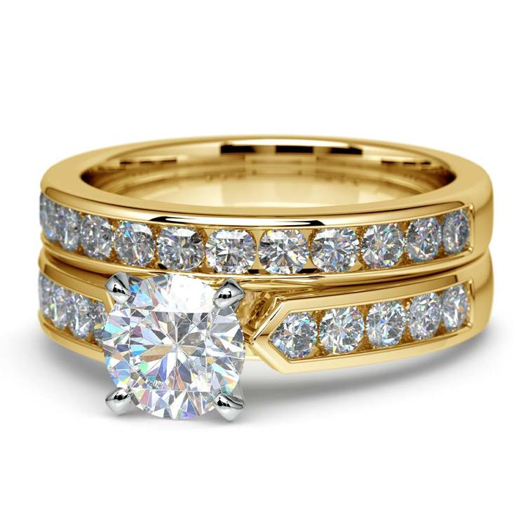 Channel Set Diamond Cathedral Bridal Set in Yellow Gold   04