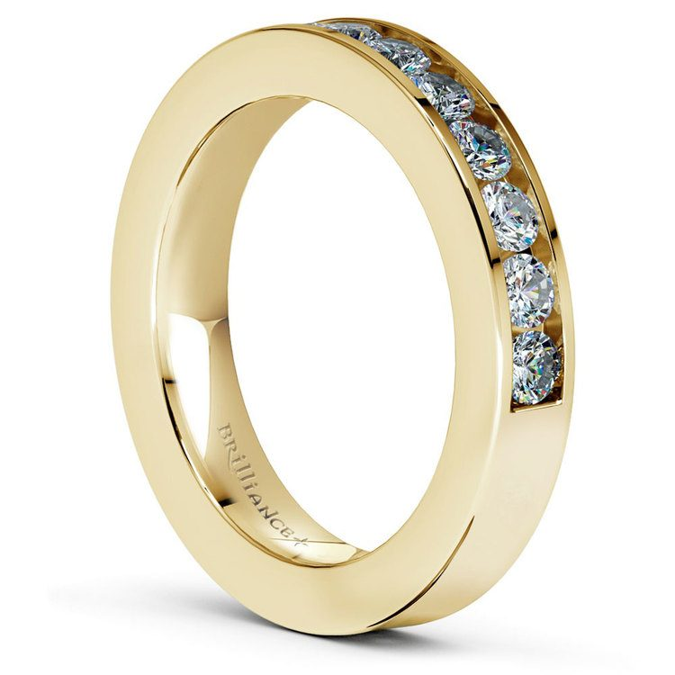 Channel Set Diamond Cathedral Bridal Set in Yellow Gold   05