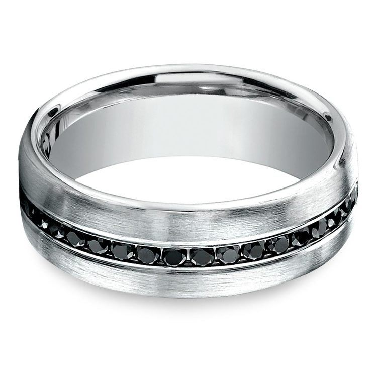Channel White Gold Black Diamond Mens Engagement Ring | 04