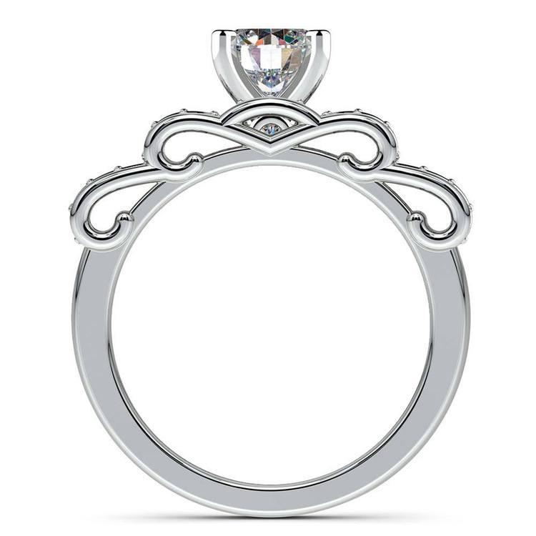 Cinderella Engagement Ring & Wedding Band Set In Platinum   02
