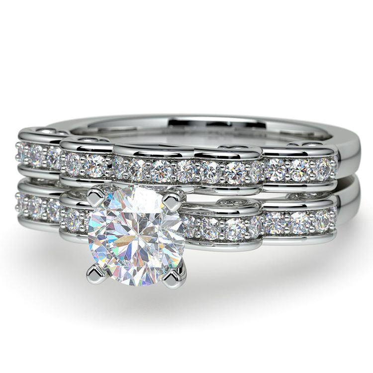Cinderella Engagement Ring & Wedding Band Set In Platinum   04