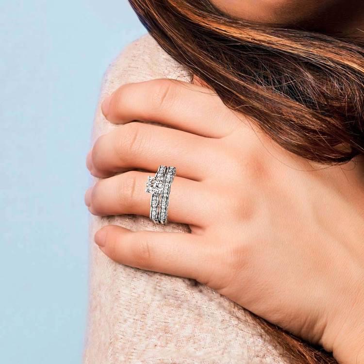 Cinderella Engagement Ring & Wedding Band Set In Platinum   07