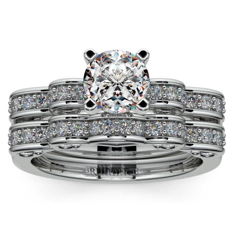 Cinderella Engagement Ring & Wedding Band Set In White Gold | 01