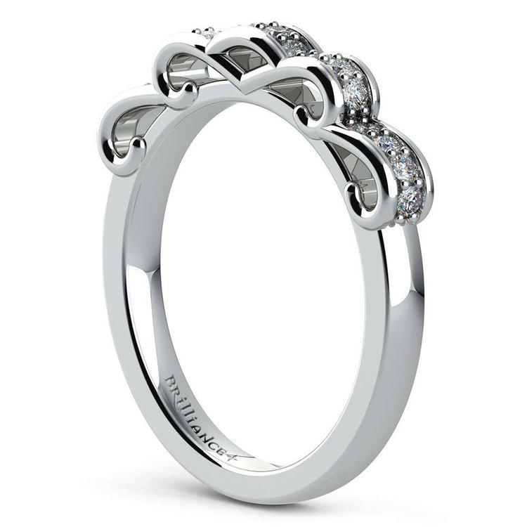 Cinderella Engagement Ring & Wedding Band Set In White Gold | 05