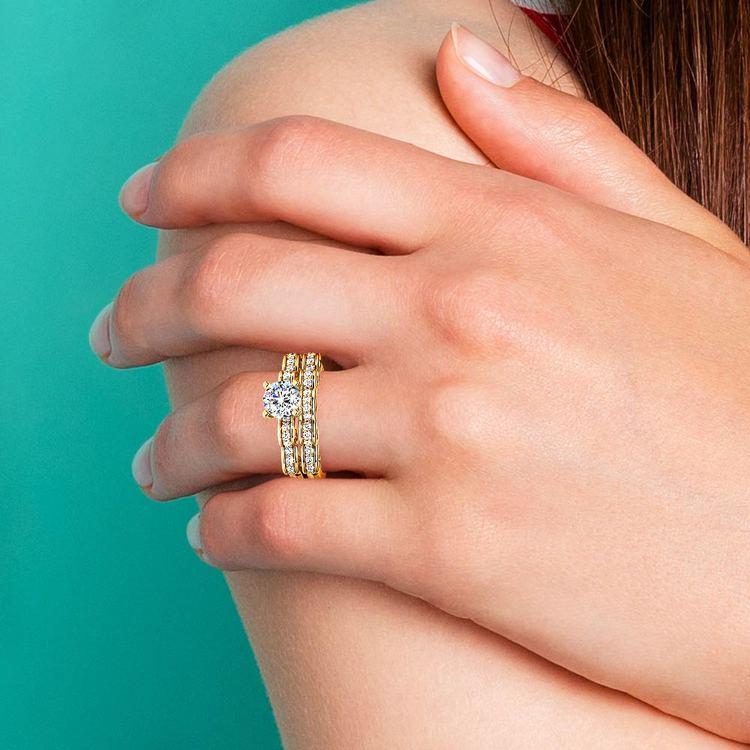 Cinderella Engagement Ring & Wedding Band Set In Yellow Gold | 07