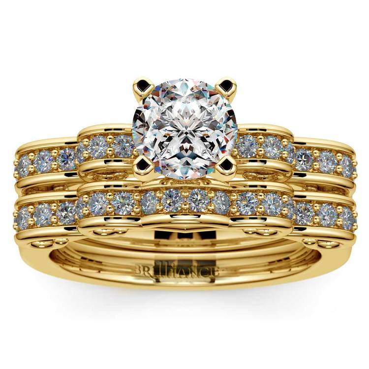 Cinderella Engagement Ring & Wedding Band Set In Yellow Gold | 01