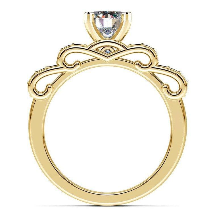 Cinderella Engagement Ring & Wedding Band Set In Yellow Gold | 02