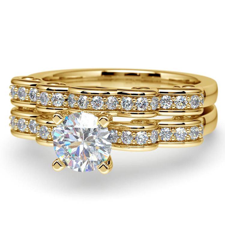 Cinderella Engagement Ring & Wedding Band Set In Yellow Gold | 04