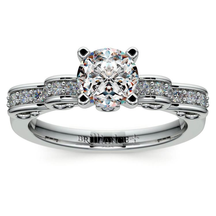 Cinderella Ribbon Diamond Engagement Ring in Platinum | 01