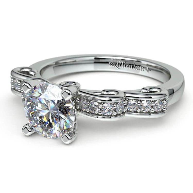 Cinderella Ribbon Diamond Engagement Ring in Platinum | 04