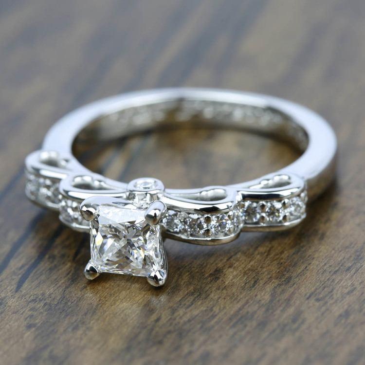 Cinderella Ribbon Diamond Engagement Ring in Platinum | 05