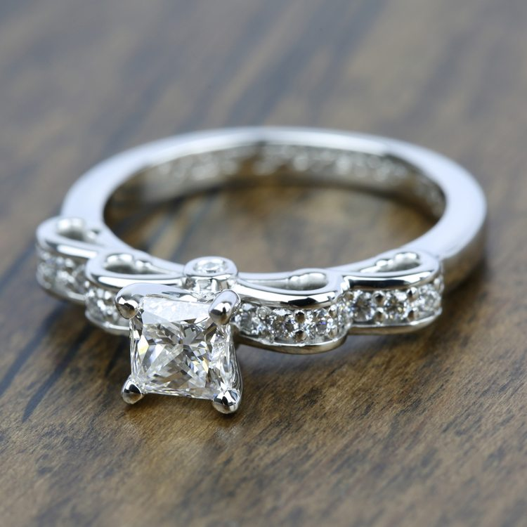 Cinderella Ribbon Diamond Engagement Ring in White Gold | 05