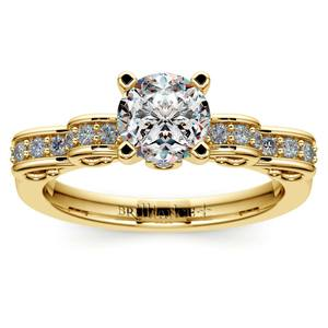 Cinderella Ribbon Diamond Engagement Ring in Yellow Gold